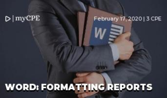 Word: Formatting Reports