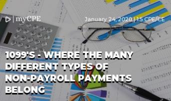 1099's - Where the many different types of non-payroll payments belong
