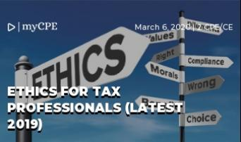 ETHICS FOR TAX PROFESSIONALS (LATEST 2019)