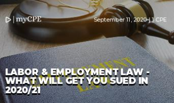 LABOR & EMPLOYMENT LAW - WHAT WILL GET YOU SUED IN 2020/21