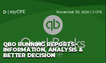 QBO Running reports - Information, Analysis & Better Decision