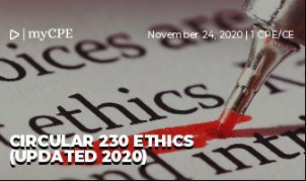 CIRCULAR 230 ETHICS (UPDATED 2020)