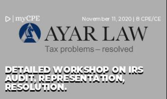 Detailed Workshop on IRS Audit, Representation, Resolution.